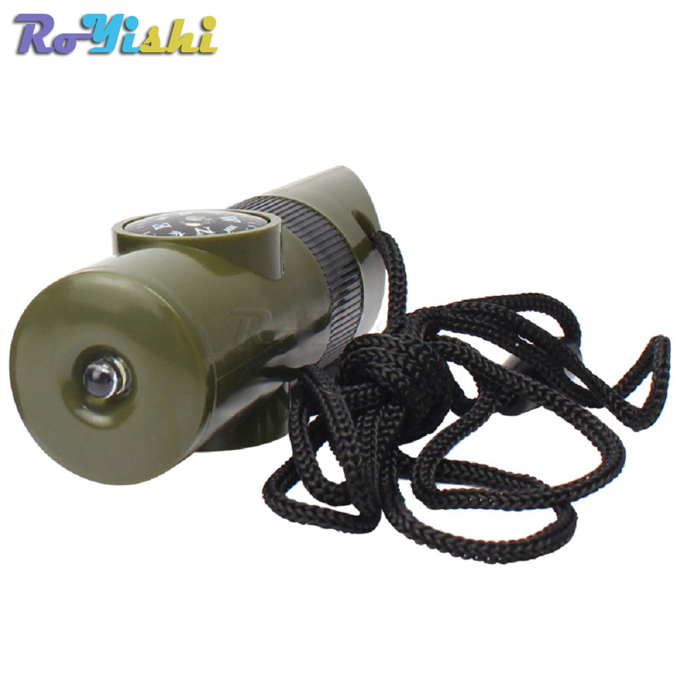 Home & Garden 1pcs 7 In 1 Multifunctional Military Survival Kit Magnifying Glass Whistle Compass Thermometer Led Light Apparel Sewing & Fabric