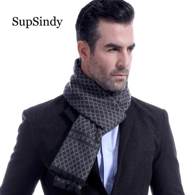 SupSindy invierno bufanda hombres Vintage suave diamante plaid bufandas negro lujo mantón caliente Cachemira imitación abrigo los hombres ocasionales de la bufanda