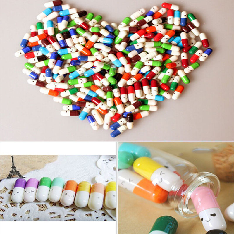 50pcs/lot Love Blank Message Capsule Envelope Letter Paper For Children Pill Capsule Message Letter Kawaii Emoticon Smile Pill