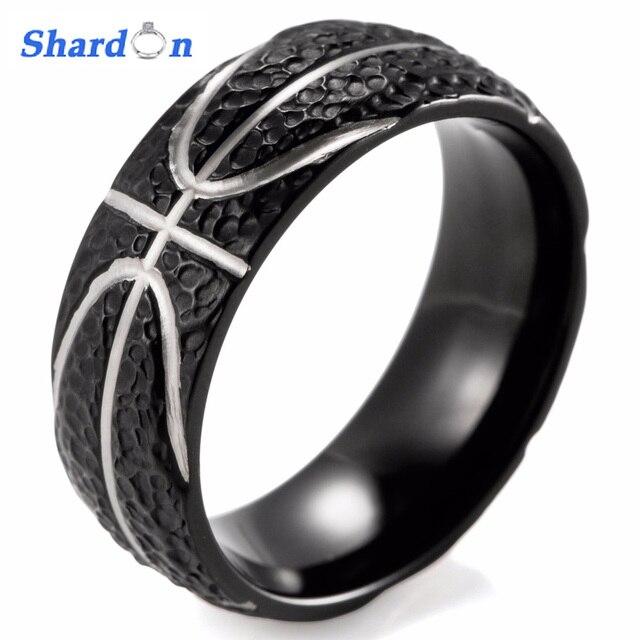 SHARDON Domed 8MM IP Black Titanium Basketball Inspired Ring STIPPLE