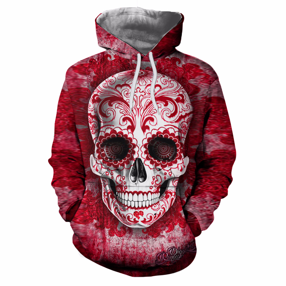 Pullover Hoodie Vest 3d Print Winter Motorcycle Jacket Men Skull Pullover Hoodies