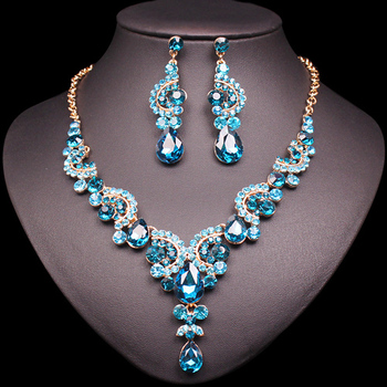 Fashion Crystal Jewelry Sets Jewelry Jewelry Sets Women Jewelry Metal Color: 2 pcs suit lake blue