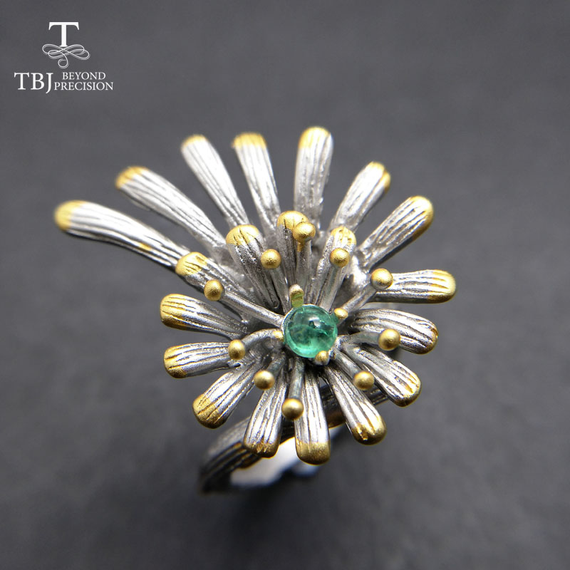 TBJ,Nice cute flower vintage ring with 100% natural green emerald gemstone ring in 925 sterling silver for women party jewelry vintage flower crucifix bracelet with ring