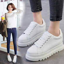 Spring Autumn Fashion Women Shoes Thick Bottom Women's Casual Shoes Lace Up Platform Genuine Leather Vulcanized Shoes