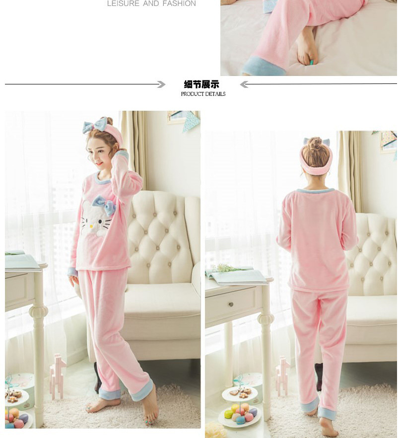 High Quality Women Pajama Sets Winter Soft Thicken Cute Cartoon Flannel Sleepwear 2 pcs/Set Tops + Warm Pants Home Clothes Mujer 101