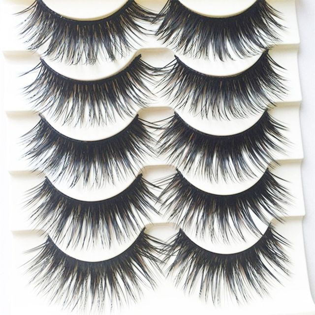 5 pairs handmade black voluminous false eyelashes makeup for Craft eyes with lashes