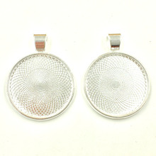 30Pcs Silver Plated Round Charm Pendants Cameo Setting Jewelry Making 36x28mm Fit Cabochon 25mm