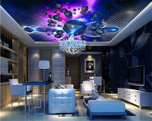 beibehang Fashion advanced personality decorative wallpaper colorful sky universe Galaxy dream room ceiling painting wall paper