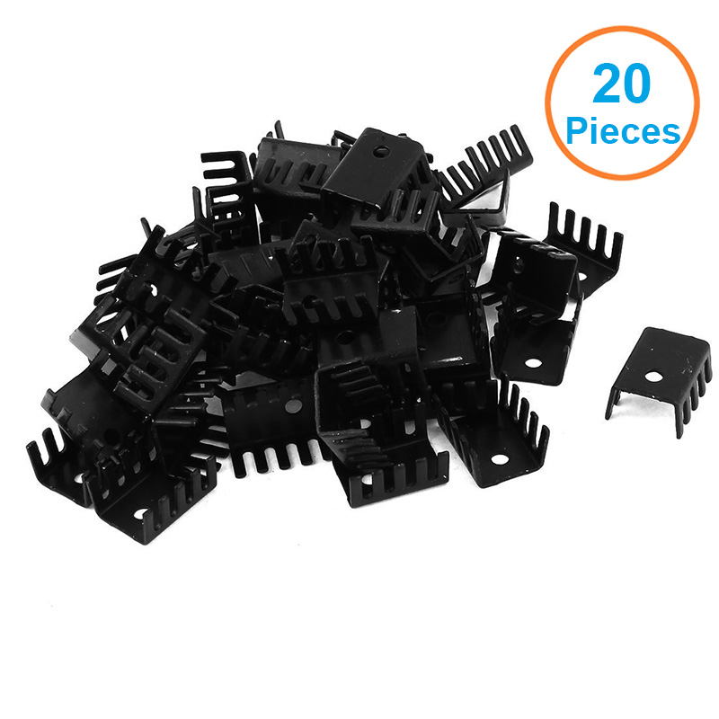 20pcs/lot Black Aluminum 19x15x10mm TO-220 TO220 Heatsink Radiator For MOS,L7805 LM337 Triode Transistors Cooler IC Chip