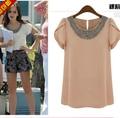 EU 2014 New fashion women Loose Big size chiffon blouse, casual Retro Beading O-neck Pullover summer shirts S-2XL