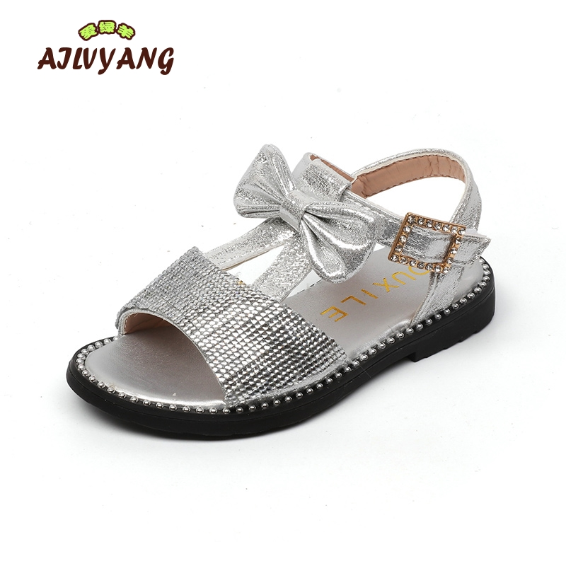 Girls Summer Shoes Chidren Princess Soft Bottom Sequins Casual Sandals Kids Bowtie Open-toed Fashion Footwear Size 26-36