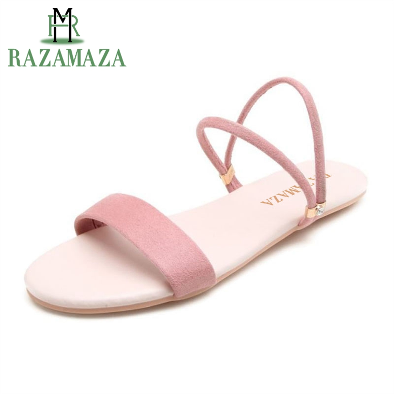 RAZAMAZA Women Flats Sandals Open Toe Classics Slip On Club Shoes Causal Daliy Concise Beach Shoes Party Footwear Size 32-43