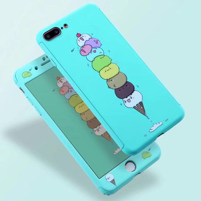 360 Full Cover Iphone 7 6S Plus Hard PC Cartoon Animals Cat Elephant Flamingo Planet Iphone 6 Plus