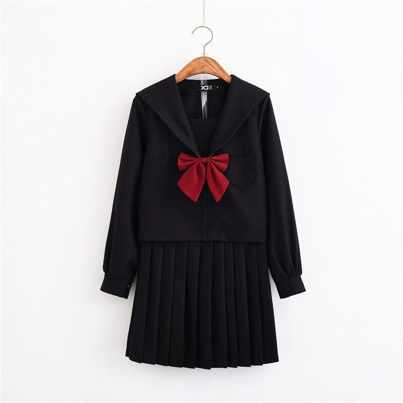UPHYD Korean School Uniform Top+Tie+Skirt Navy Sailor Suits Anime Costumes School Girl Clothes