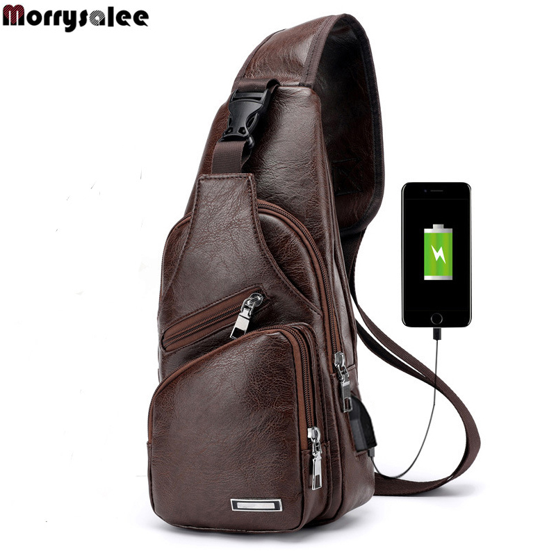 Men's Crossbody Bags Men's USB Chest Bag Designer Messenger bag Leather Shoulder Bags Diagonal Package 2018 new Back Pack Travel(China)