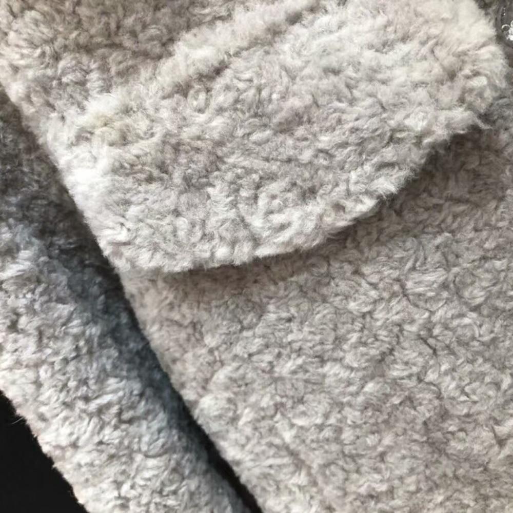 Laine D'hiver Fourrure Naturel 100 Bleu Manteau Outwear Réel Gris De Mouton Veste Rose Femelle zwnnSq5X