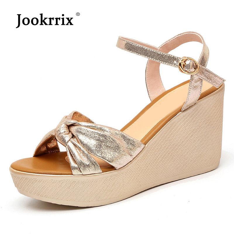Jookrrix 2018 Summer Playa Shoes Women Wedges Sandal Platform Shoes Lady Buckle Girl Leisure Chaussure Golden High Heel Sandles