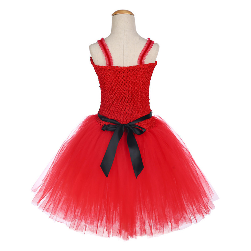 Girls Christmas Santa Winter Dress with Feather and Sashes Handmade Red Puffy Dress for Kids Birthday Tutu Party Dress Clothes (4)