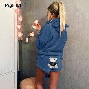 Image 5 - Fqlwl conjunto de duas peças pijamas mulher pijamas flanela kigurumi gato quente pijamas de inverno feminino para pijamas casa terno