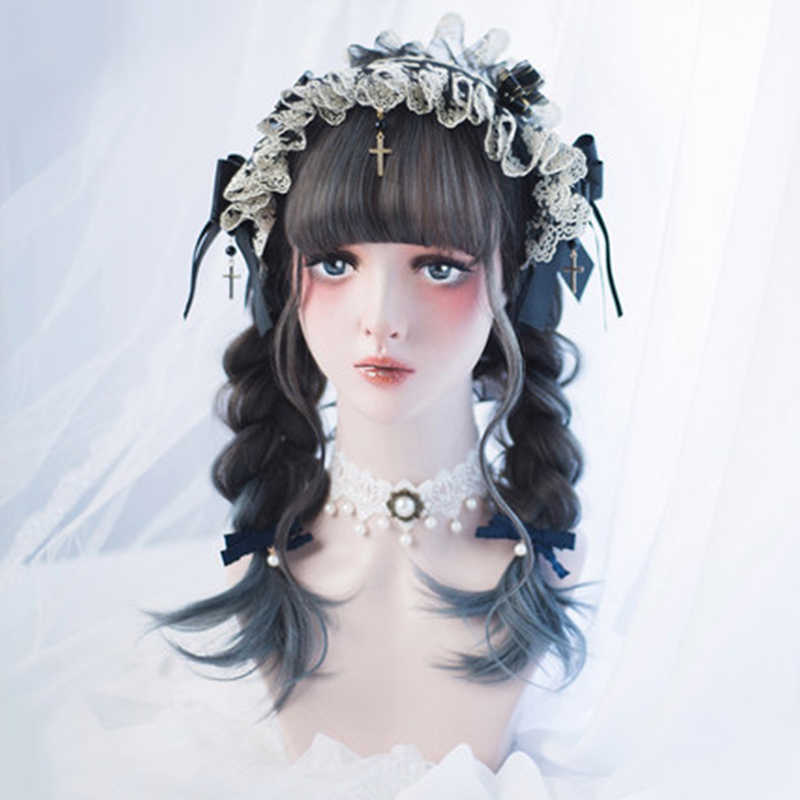 Beautiful Long Curly women Hair Cosplay Wig Synthetic wig Lolita kawaii Gray Hair women Fashion Girls Lolita Wig Cute Unique
