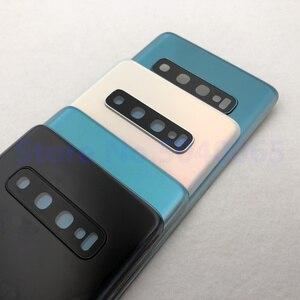 Image 4 - 100% oryginalny Samsung Galaxy S10 tylna pokrywa baterii 3D obudowa szklana pokrywa tylna sprawa S10 G973 S10 + drzwi tylna obudowa obiektyw aparatu