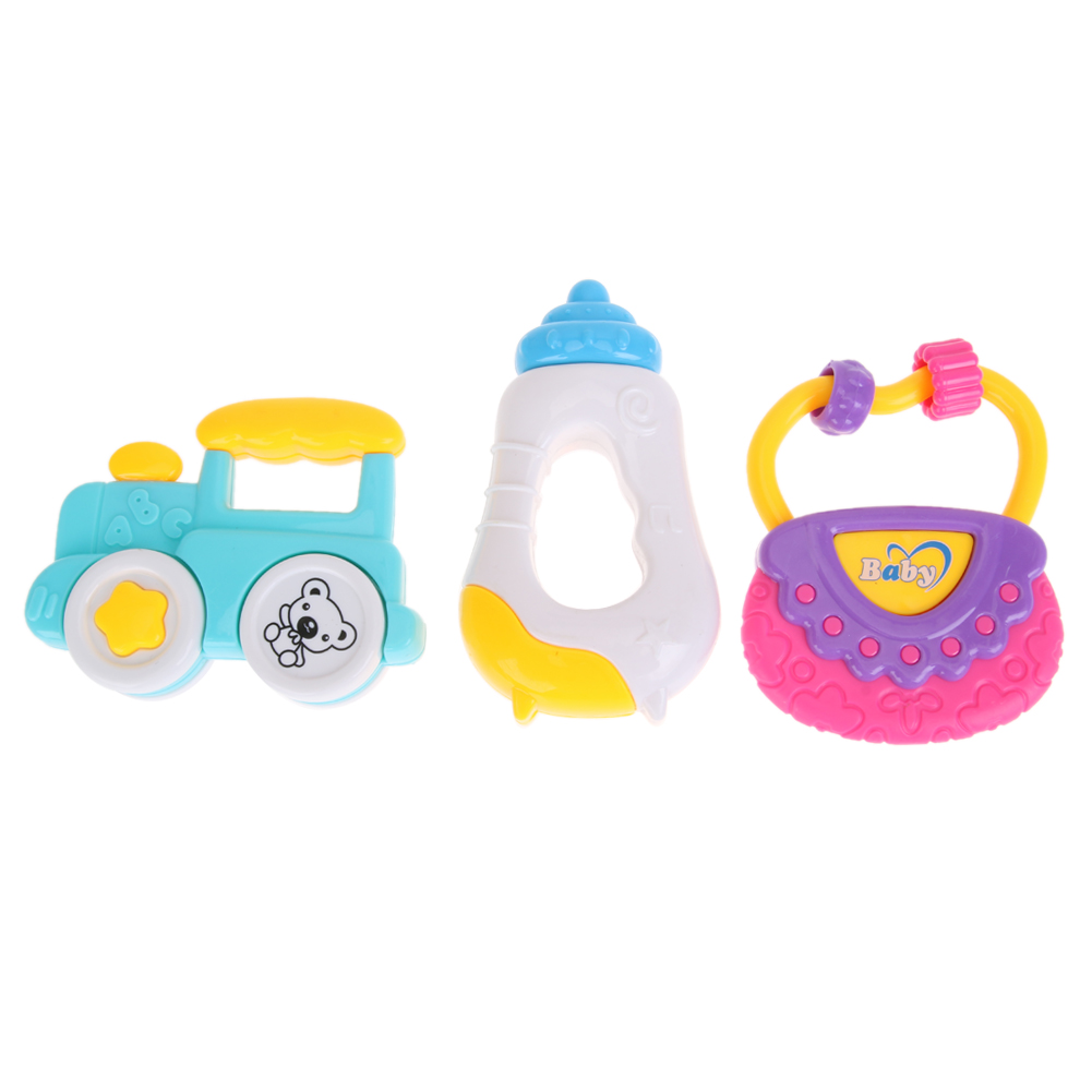 2pcs/3pcs Baby Rattle Toys Cartoon Animal House/handbag/bee/car Handbells Newborn Infant Developmental Rattle Toy Bells Soft And Antislippery