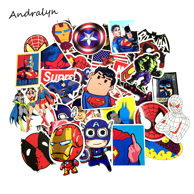 40PCS Stickers Cartoon Series Marvel DC Super Hero Sticker Batman Iron Joker Superman Captain Waterproof PVC