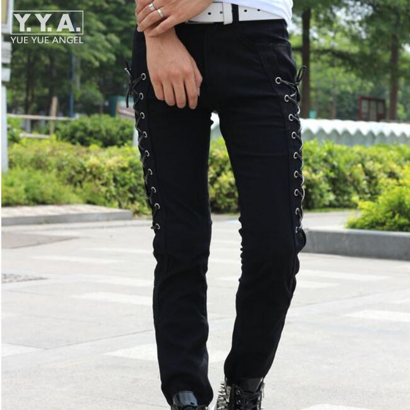 Fashion Summer Korean Style Slim Fit Mens Pants Full Length Male Trousers Personality Skinny Lace Up Pants For Men Free Shipping grey 2015 spring male personality splice skinny pants the trend straight trousers slim long trousers thin men skinny jeans