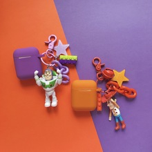Toy Storys Woody Buzz Lightyear Protective Silicone Bluetooth Wireless Earphone Cover For Apple Airpods 1 2 Case With Keychain