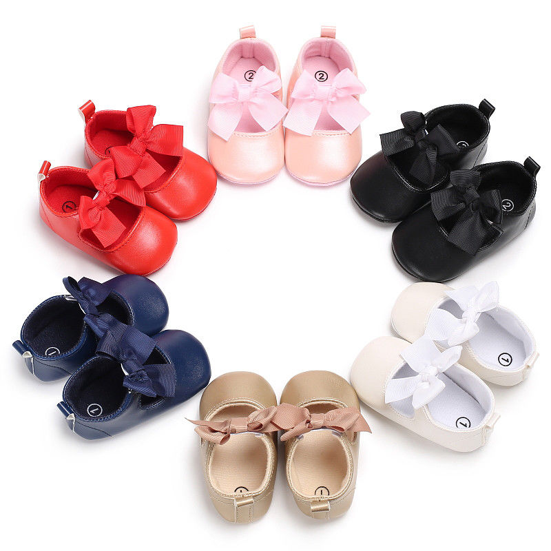 Newborn Infant Baby Girl PU Flats Slippers Soft Sole Lace Bowknot Party Shoes 0-18M