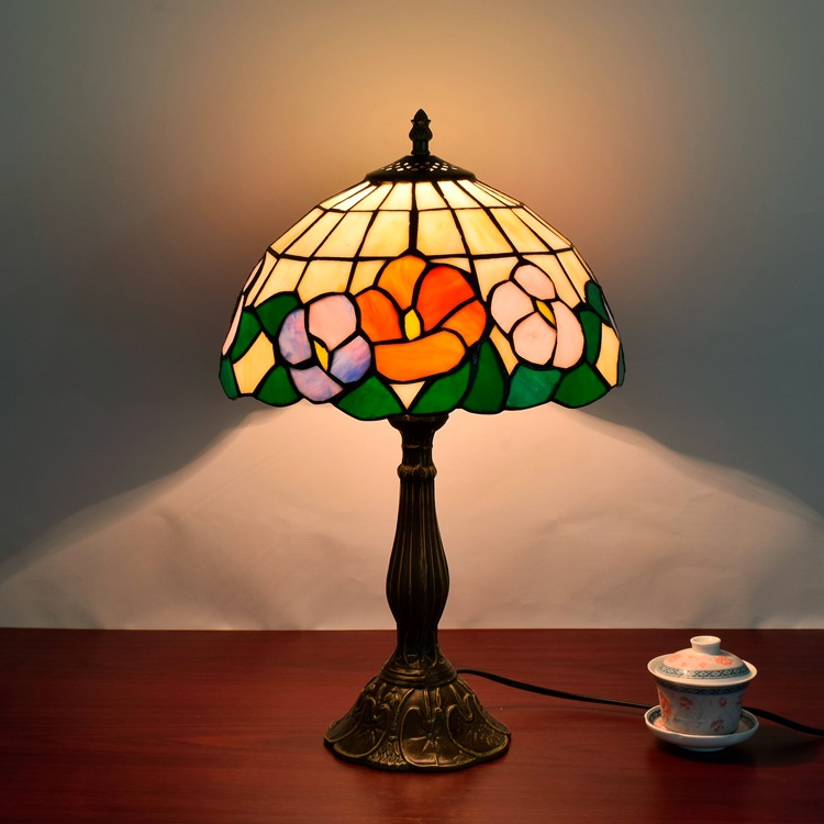 country art glass retro bedroom bedside personality desk lamp European style Tiffany restaurant lamp 12 inch lamp north european style retro minimalist modern industrial wood desk lamp bedroom study desk lamp bedside lamp