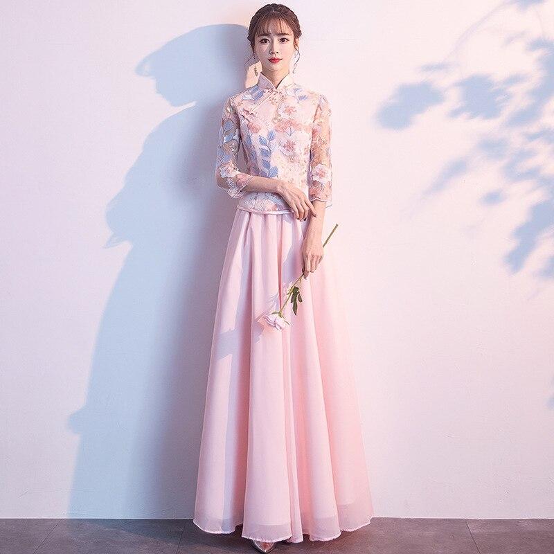 2019 nouveau chinois demoiselle d'honneur soeur jupe robe rose longue classique chinois robe de soirée cheongsam chinois robe Qipao taille S-XXL