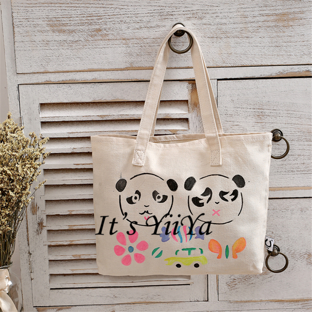 Free Shipping Cotton Shopping Bags Beige with Panda Pattern Shoulder Bags with Gift Shopping Bag Handbags HL124