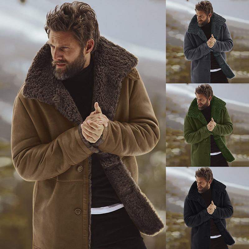 2018 Winter Men Coat Fashion Brand Clothing Fleece Lined Thick Warm Woolen Overcoat Male Wool Blend Men's Coat Plus Size Presale