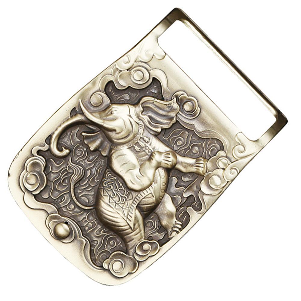 CUKUP Mens Unique Design Elephant Animal Pattern Brass Buckles Metal for 3.7-3.9cm Wide Belt Paties Cowboy Buckle Men BRK035