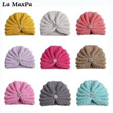 2018 New Fashion Donut Baby Hat Newborn Elastic Knitted Wool with Diamond Beanie Cap Multicolor Turban
