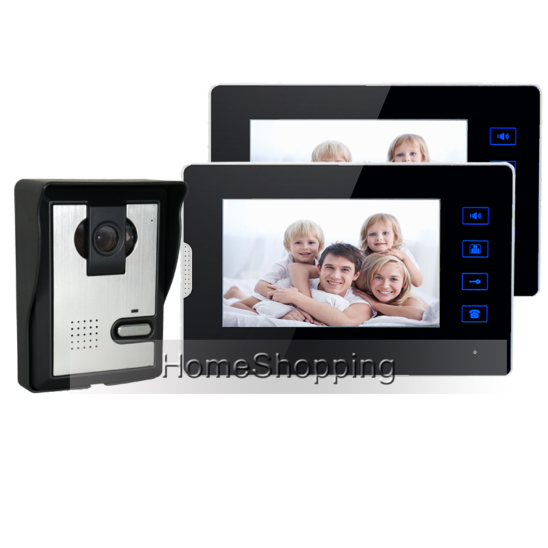 FREE SHIPPING New 7 Color TFT Touch Screen Video Door phone Intercom System + 2 Monitors + 1 Night Vision Door Camera IN STOCK free shipping new handheld 4 3 inch color tft video door phone doorbell intercom night vision door bell camera 2 screen in stock