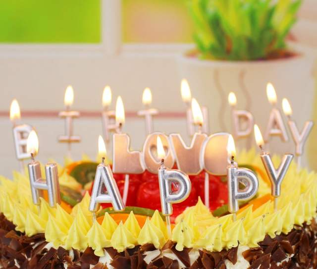 1pack New Love Happy Birthday Candle Cake Decoration Home Party Gold Silver HAPPY BIRTHDAY