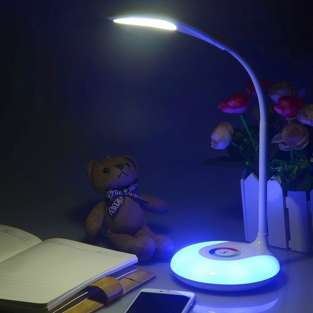 LED Desk Light RGB Color Battery Touch Switch Folding Table Lamp ...