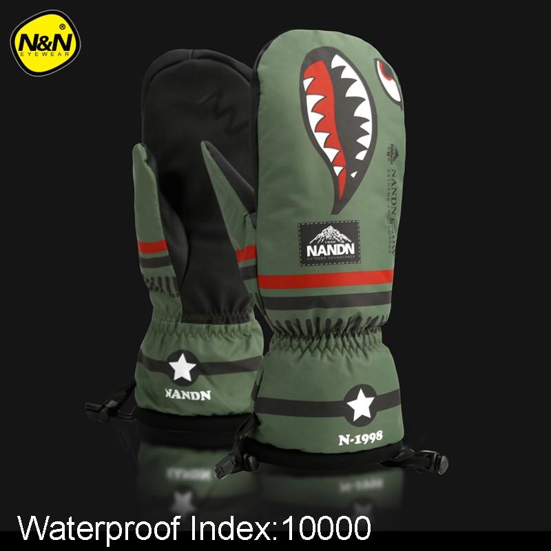NANDN-30 градусов профессиональные лыжные перчатки для сноуборда 10000 Водонепроницаемые зимние теплые зимние варежки для катания на лыжах на снегоходе 2 пальца