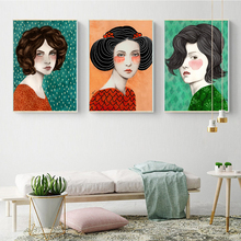 AAHH Illustration Posters Woman Quadro Canvas Painting Print on Animal Art Picture for Living Room Home Decor No Frame