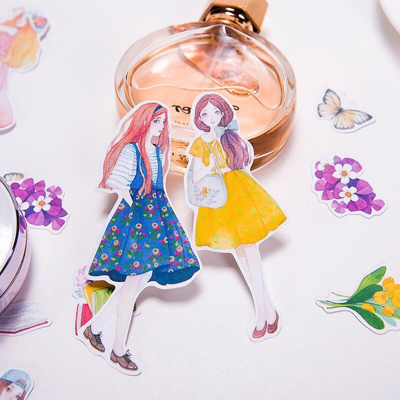 20pcs/lot Kawaii Flowers Cartoon Animation Paper Sticker Girls Decoration DIY Scrapbooking Sticker Stationery Label Stickers