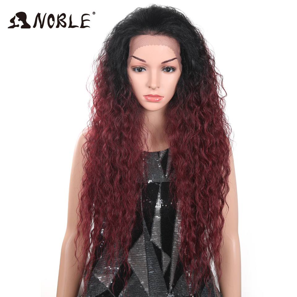 Noble 28Inch Deep Curly Synthetic Lace Front Wigs For Black Women Baby Hair Glueless Heat Resistant Fiber Wigs U Part Hairstyles