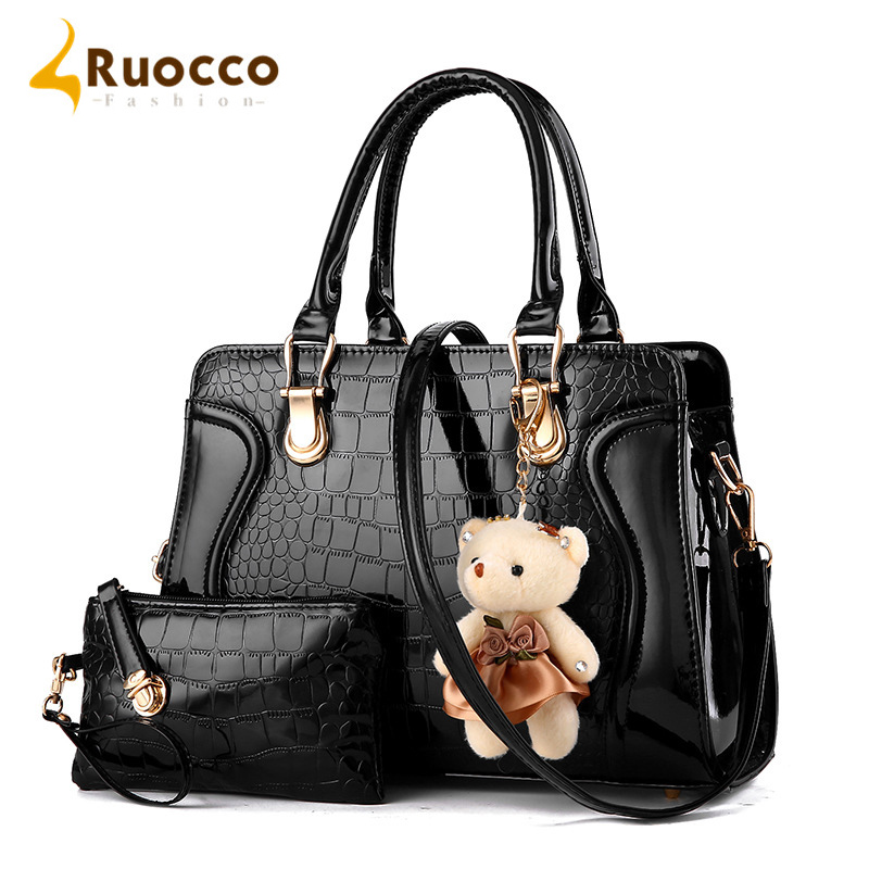 ruocco 2 pcs set women bag crocodile pattern composite bag vintage women shoulder handbag purse. Black Bedroom Furniture Sets. Home Design Ideas
