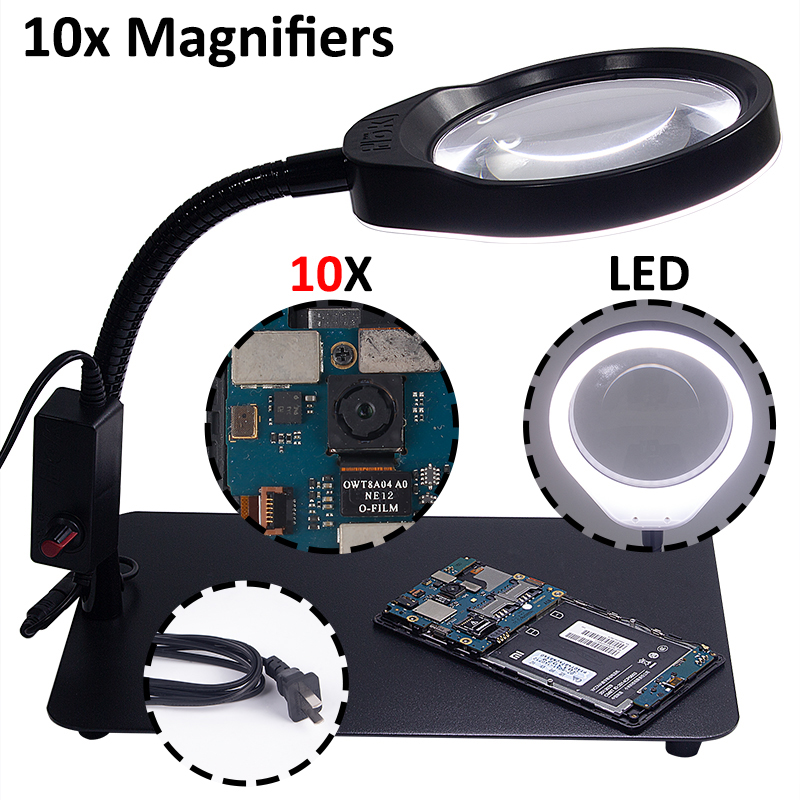3X 5X 8X 10X Diopter 48 LED Magnifying Floor Stand Lamp Magnifier Glass Cold Facial Light