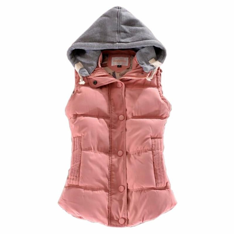 M-4XL Ladies New Winter Thick Warm Vest Female Korean Slim Candy Color Coat Leisure Wild Hooded Cardigan Jacket