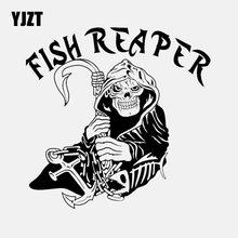 Yjzt 15.4cm * 15.1cm peixe ceifador de pesca crânio etiqueta do carro barco âncora caminhão janela vinil decalque preto/prata C24-0573