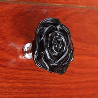 55mm Bigger Size Glass Crsytal Rose Knobs Silver Clear Blue Black Pink Purple Green Drawer Wardrobe