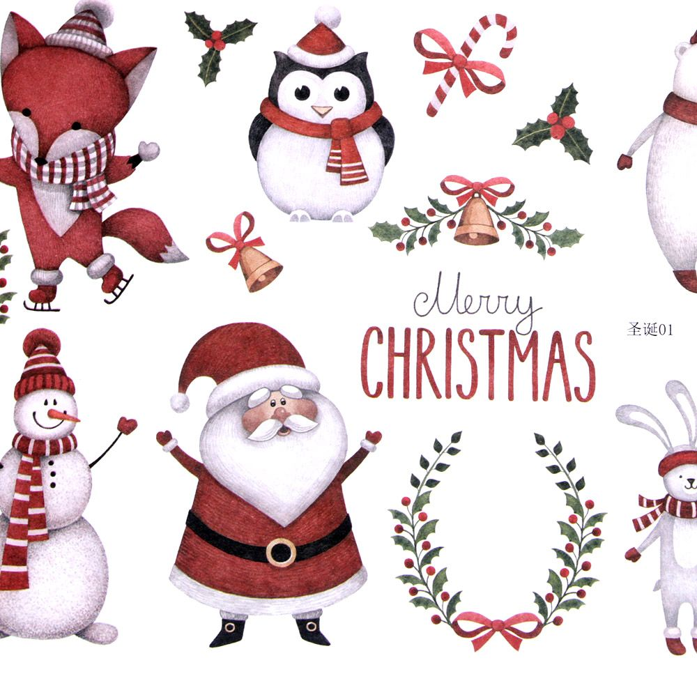 1pcs Merry Christmas Santa Claus DIY Stickers Decorative Scrapbooking Diary Album Label For Childern Sketching Album Stationery