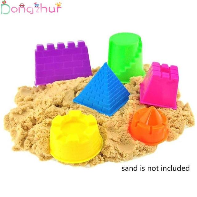 6pcs/set Castle Molds Building Model Mold Play Dough Beach Fun Toy Gift For Kids Children Moving Magic Sand Toys